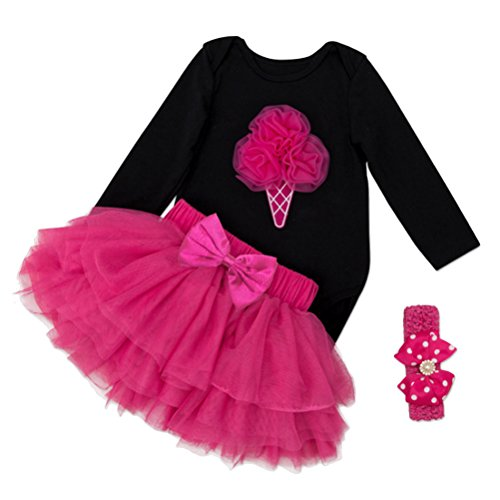 (Zhhlaixing Infant Toddler Baby Mädchen Cozy Cotton Romper Tutu Skirt + Headband Outfit Set for 0-24 Months Kids)