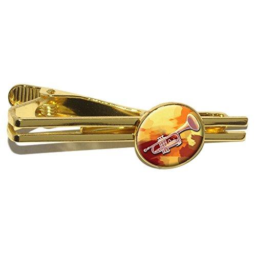 Trompete Player–Band Instrument Musik Messing rund Krawatte Bar Clip Verschluss Tack–Gold (Trompete-krawatte-clip)