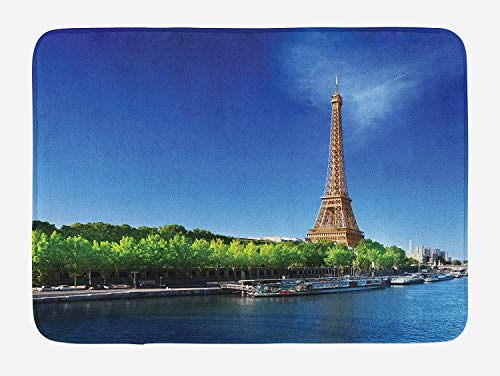 JIEKEIO Eiffel Tower Bath Mat, Seine Paris with Eiffel Tower Sunrise Trees River Nature Panorama, Plush Bathroom Decor Mat with Non Slip Backing, 23.6 W X 15.7 W Inches, Navy Blue Green Cream - Sunrise Tree