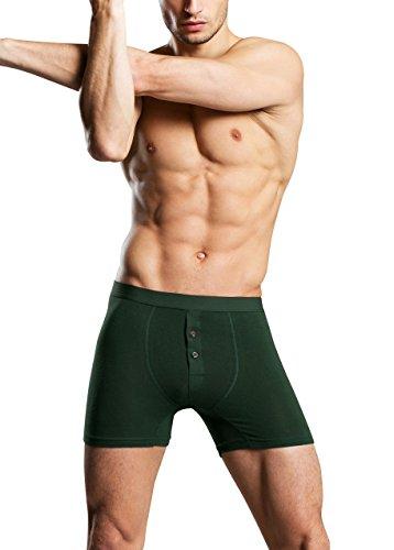 Dolamen Herren Boxershorts Baumwolle, 2 Stück Mens Unterhosen Underwear Schlafanzughose Nachtwäsche Trunk Unterwäsche Boxer Briefs Webboxer Shorts Retroshorts Grün