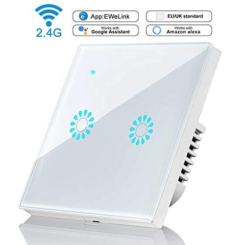 2 Gang Wifi Interruptor, leegoal Wireless interruptor de luz inteligente compatible con...