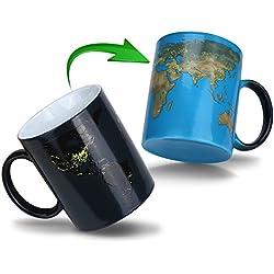 Taza mágica Taza té café Cambio de Color de la Taza Sensible al calor, cerámica, negro, 11oz. ( Día y noche ) (color changing mug1)