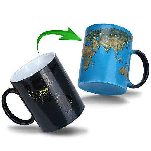 Doublewhale Magische Kaffeetasse Erde,Tasse Thermoeffekt Weltkarte Geschenk fuer Maenner Papa Geschenkideen Lustige Kaffeetassen 12Oz/350ml Keramik Becher Tassen Geschenke für Männer/Mann