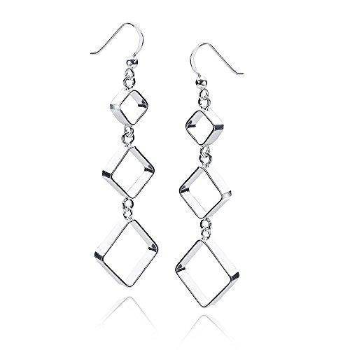MATERIA Damen Ohrhänger lang Silber 925 - Quadratische Ohrringe modern rhodiniert 17x63mm #SO-290