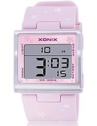 Reloj electrónico digital de múltiples funciones de los ni?os,Plaza jalea led 100 m resina resistente al agua alarma cronómetro hora dual chicas o chicos moda reloj de pulsera-I