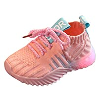 GACOZ Kids Shining LED Light Up Shoes, Mesh Breathable Running Sneakers Lightweight Colorful Anti-Slip Sports Trainers for Toddler Sports and Outdoor, Unisex Sneakers Pink