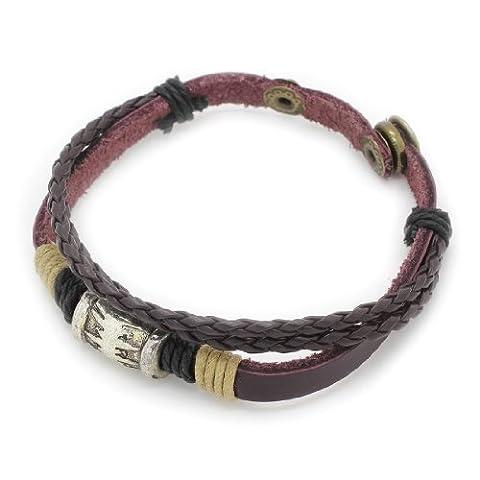 3-Strand tress¨¦e en cuir v¨¦ritable bracelet r¨¦glable / Bracelet avec Barrel Charm