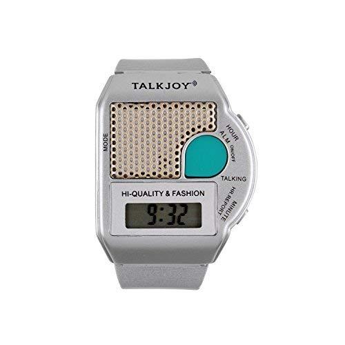 Reloj de Pulsera parlante de Plata, Reloj Despertador con indicación de la Hora, botón...