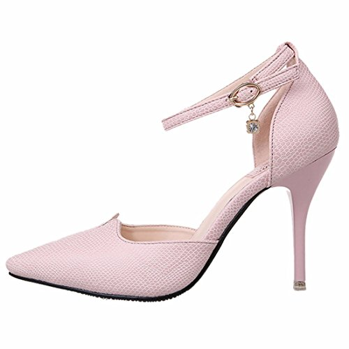 QIYUN.Z Ol Femmes Stiletto Sexy Talon Bout Pointu Ceinture Creuse Pompe Boucle Chaussure Rose