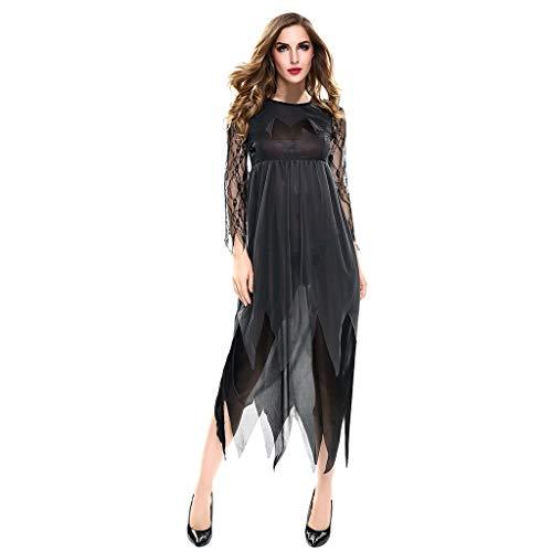 Frau Frankenstein's Kostüm - INLLADDY Halloween Kostüm Damen Zombie Braut Kleid Vampir Gruseliger Effekt Kleid Cosplay Schwarz S