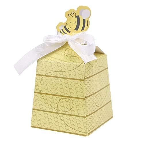 XZANTE Ein Satz Von 50 Sü?e Baby Dusche Bevorzugungs Karikatur Honig Bienen Papier Sü?igkeit Kasten Entzückende Kinder Geburtstagsfeier Party Dekor Neugeborenen Baby Geschenke Dekoration