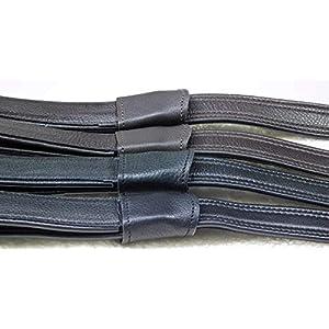 1 Paar Mono Steigbügelriemen Riemen Schwarz Braun Leder/Nylon Webbers 50-69 cm Tysons (Schwarz)