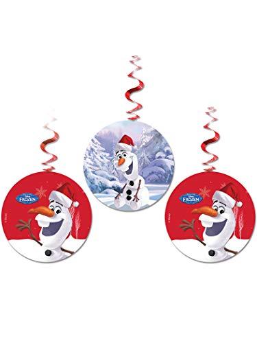 Unique Party zum Aufhängen Swirl Disney Frozen Olaf Weihnachtsschmuck, 3Stück (Party Frozen Supplies Olaf)