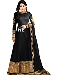 Ruri Enterprise Black Bangalory Silk Embroidered Anarkali Suit For Women