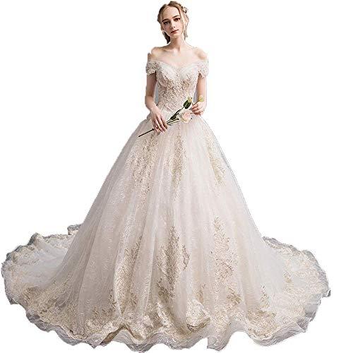 Elegant Dress Frauen Schulterfrei Blumenspitze Applique Sweep Zug Brautkleid Brautkleid Langen Schwanz Abnehmen Retro Braut Kleid Formale Festzug Abendkleid, Champagner, X-Large