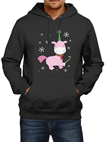 Shirt Happenz Weihnachten Einhorn 01 Premium Hoody   Geschenk   Nikolaus-Hoodie   Winter   Herren   Kapuzenpullover Schwarz