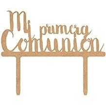 Topper para tarta de madera - Mi primera comunión