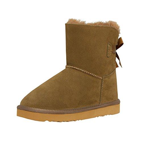 SKUTARI Mädchen Boots Single Bow - Wildleder, Gefüttert, Schleife (34, Khaki/5020) (Kinder Wildleder Winterstiefel Fell)