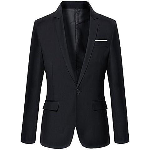 Aoibox -  Giacca da abito  - Uomo Black (Nero Sport Coat Blazer)