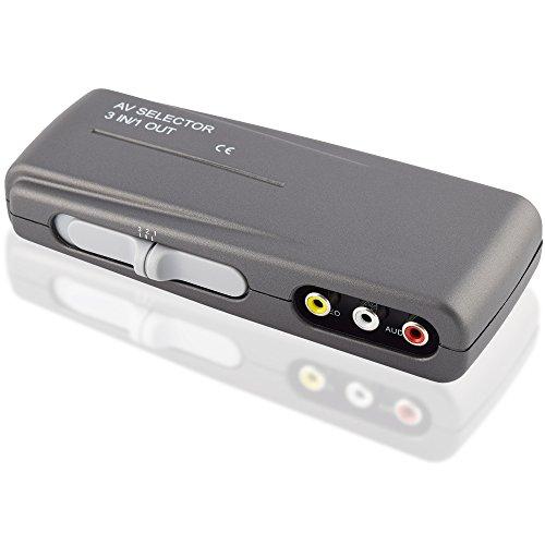 Audio Video RCA Umschaltbox Switch / 3 Cinch Buchse Kupplung IN / 1 Cinch Buchse Kupplung OUT / Grau