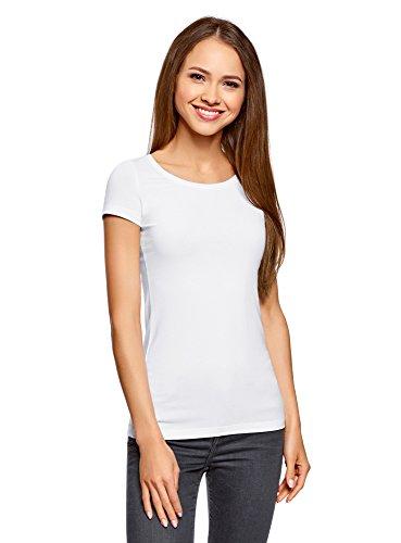 oodji Ultra Damen Tagless Tailliertes T-Shirt Basic (2er-Pack), Weiß, DE 42 / EU 44 / XL