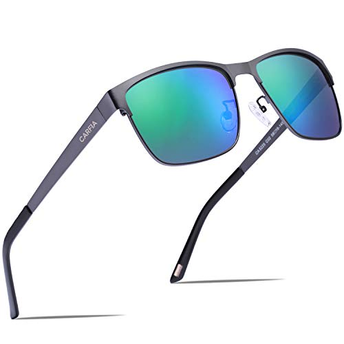 Carfia Polarisierte Herren Sonnenbrille Modische Metallrahmen Fahrer Sonnenbrille 100% UV400 Schutz für Golf, Autofahren, Outdoor Sport, Angeln (Gestell: Gunmetal, Gläser: Grün) -