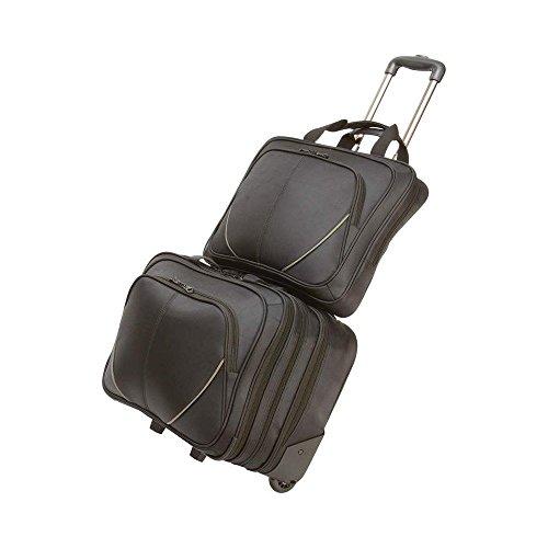 2 Stk Trolley Geschäft / Reisetasche mit Laptop-Tasche Reisekoffer Suitcase Business Trolley Travelite Koffer - Schwarz