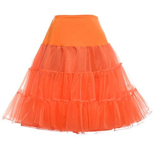 GRACE KARIN® 50er Jahre Petticoat Vintage Retro Reifrock Petticoat Unterrock für Wedding Bridal Petticoat Rockabilly Kleid in Mehreren Farben, Orange, M,C1,Orange