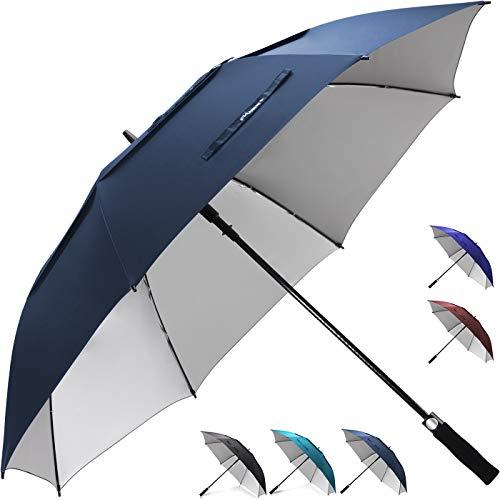ZEKAR 54/162/68 Zoll Winddichter großer belüfteter UV-Schutz und klassischer Pongee-Stoff Golf-Regenschirm, Doppelüberdachung Regen und Sonne, übergroße Stockschirme für Männer und Frauen, Navy, 54