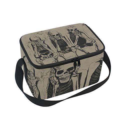 Bolsa de almuerzo de Halloween con diseño de esqueleto para picnic, correa...