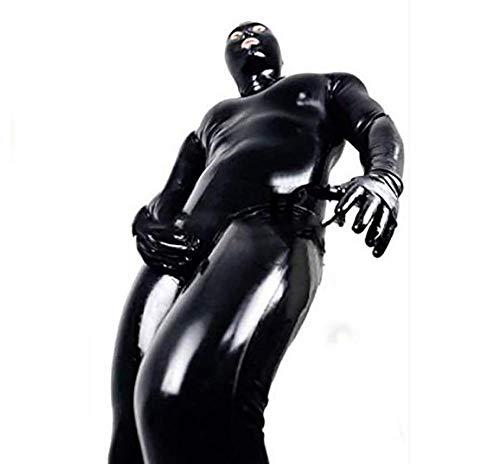 Erotic underwear Catsuit für Herren, sexy, Lackleder, PVC, Latex, erotischer Gymnastikanzug, Gymnastik, Fetisch, Nachtclub, Gefangene und Cosplay, Schwarz, XL
