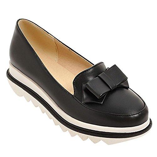 Misssasa donna scarpe col tacco zeppa basso dolce e comfort (34, nero)