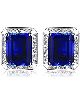 Jewelrypalace Männer Luxus 8.6ct erstellt Blue Sapphire Hochzeit Manschettenknöpfe 925 Sterling Silber