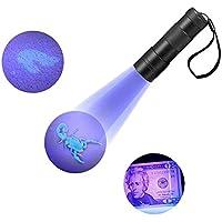 Refoss UV Taschenlampe, Haustier Urin u. Flecken-Detektor, Skorpion-Jagd-Licht, 12 LED ultraviolettes Licht-Schwarz