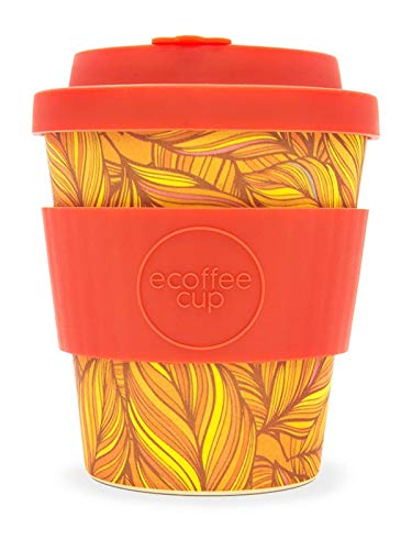 Ecoffee Cup - 8oz Singel with Deep Orange Silicone