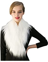 Women Stylish Artificial Fur Collar White Scarf Winter Warmer Cape Stole