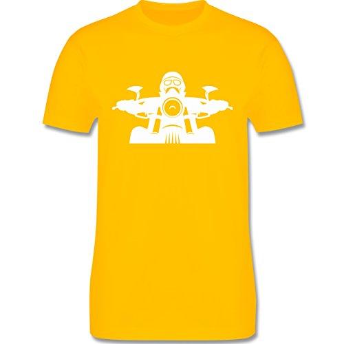 Motorräder - Biker Helm Bart Brille - Herren Premium T-Shirt Gelb