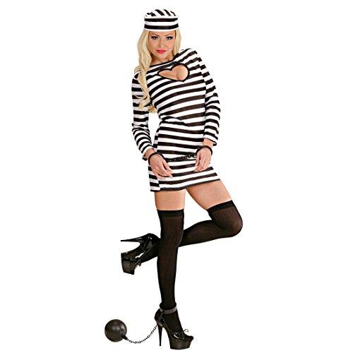 �m - M (38/40) - Häftling Damenkostüm Gefangene Verbrecherin Knasti Junggesellenabschied Outfit Faschingskostüm Frauen Sexy Sträflingskostüm Damen (Häftling Kostüm Frauen)