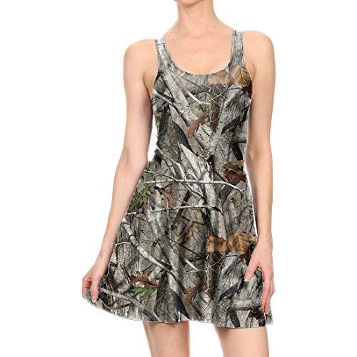 Bademode Frauen Kleid Print Faltenrock ärmelloses graues Trägerkleid Bikinis (Farbe : Grau, Size : M) -