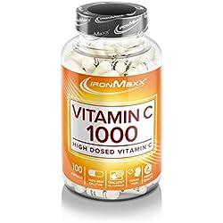 IronMaxx Vitamin C 1000 high dosed – Kapseln mit hochdosiertem Vitamin C zur Unterstützung des Immunsystems und der Muskelfunktion – 1 x 100 Kapseln