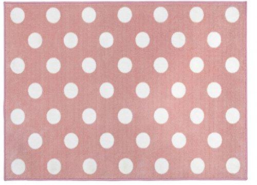 Kit for Kids–Alfombra (color rosa y blanco, diseño de lunares)