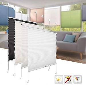 BelleMax Raffrollo ohne Bohren klemmfix Rollo Jalousie Sonnenschutz leicht zu Montieren und Verspannt Weiss 70x130 cm