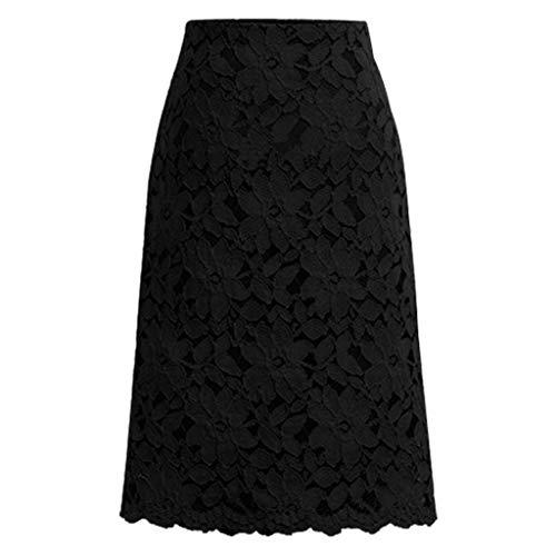 AIni Femmes Robe Eté Robes Longue, Jupe Mi-Longue en Dentelle-Casual Chic Vintage(XXL,Noir)