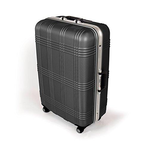 MasterGear Hartschalenkoffer mit Aluminium Rahmen in schwarz | Größe L: (75,5 x 51,5 x 29 cm / 80 Liter) | Koffer mit 4 Rollen (360 Grad) | Trolley, Reisekoffer, ABS, TSA, stapelbar