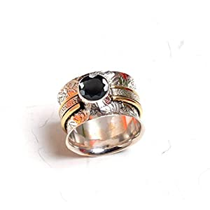 925 Sterling Silver Spinner Band Rings for Women, Anxiety Ring for Meditaion, Gift Ring for Mother's Day