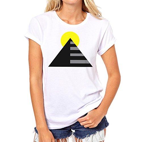 Illuminati Triangle Art Majestic Yellow Sun Rise Damen T-Shirt Weiß