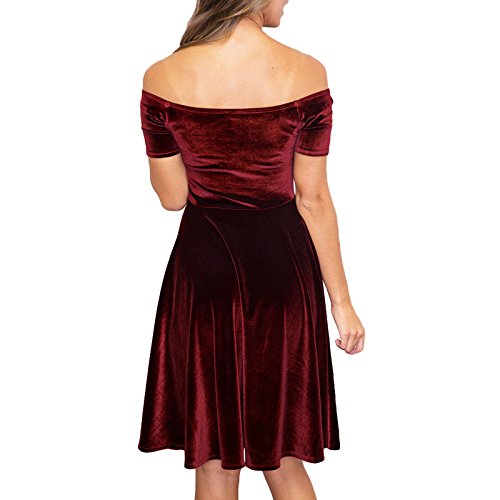 Toocool - Vestito donna abito miniabito velluto skater elegante cerimonia nuovo DL-2211 Bordeaux