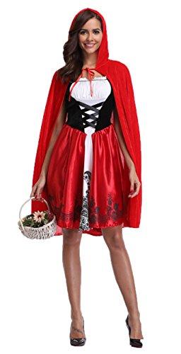 I-CURVES Frauen Märchenbuch Märchen Rotkäppchens halloween komplette Parteikostüm Größe (Red Riding Hood Kostüm Frauen)