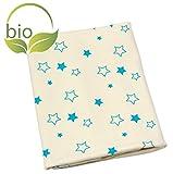ByBoom - BIO Babydecke, Kuscheldecke, Erstlingsdecke, Sommerdecke aus 100% Bio Baumwolle mit Motiv, 70x100 cm; MADE IN EU, Farbe:Natur - Sterne Aqua