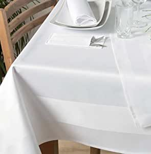 Nappe thermo plastic padua avec bande satinée blanc 140 x 330